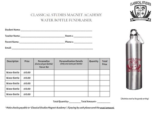 water bottle order form