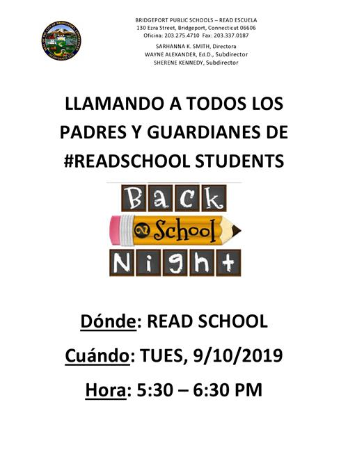 Back 2 School Night 2019 will take place Tuesday, September 10, 2019 5:30pm-6:30pm