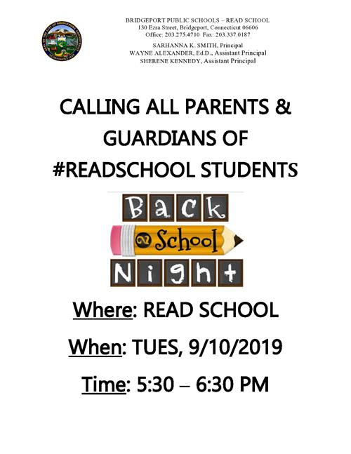 Flyer for Back 2 School Night 2019 9/10/19