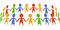 Teamwork; simple drawing of people holding hands. The people are green, blue, yellow, and red.