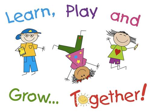 Learn, Play and Grow Together text with three cartoon children playing