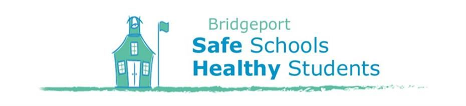 Bridgeport Safe Schools Healthy Students Header Logo - Clip Art image of a school