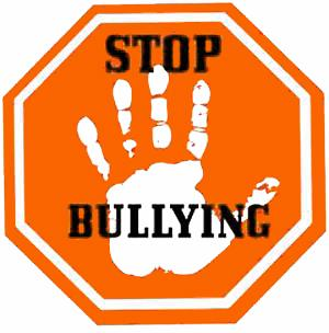 Orange Stop Sign with Stop Bullying text over a white hand print