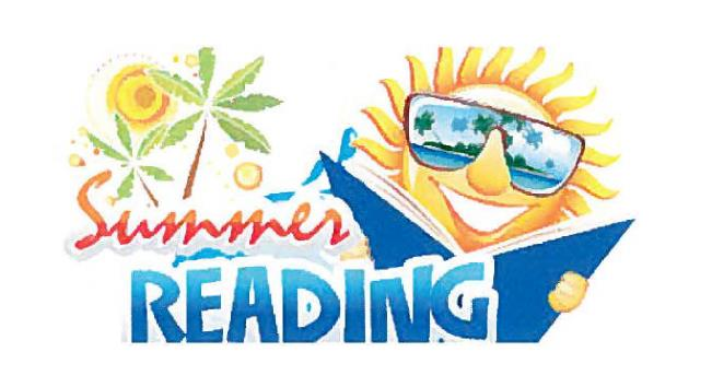 Summer Reading Logo - Sun with shades on reading a book