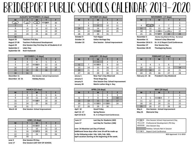 The district calendar contains dates for the 2019-2020 school year for Bridgeport Public Schools.