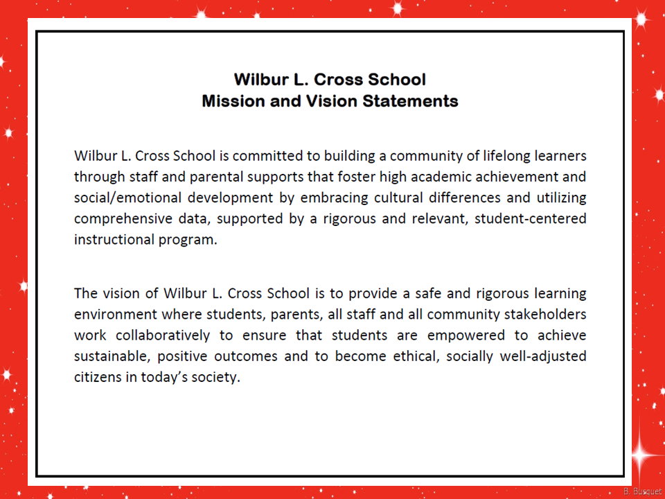 The mission and vision statements focus on building a community of lifelong learners.