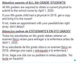 Important Note from our school Nurse
