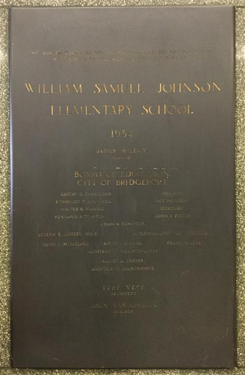 Johnson School Dedication Plaque in our main lobby, 1954