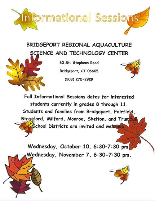 Aquaculture Information Session for 8th Graders, October 10th or November 7th, 6:30PM